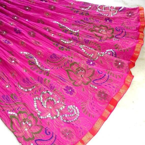 Maxi Skirt: Long Peasant Skirt, Full Crinkle Skirt, Gypsy Skirt in Fuchsia Pink