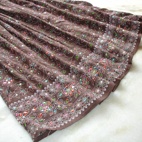 Maxi Skirt: Long Skirt, Indian Skirt, Flowy Coffee Brown Indian Gypsy Boho Bohemian Sequin Skirt with Sari Border