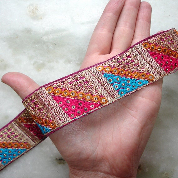 Indian Trim Embroidered Ribbon, Pink Ribbon, Trim from India, Long Remnant, DESTASH
