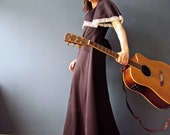 Vintage 70s Bohemian Chocolate Brown Butterfly Maxi Festival Folk Singer Boho Woodland  Hippy Dress