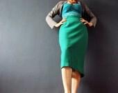 Vintage 1960s Emerald Green Kelly Green Mad Men Fishtail Wiggle Secretary Rockabilly Pin Up Skirt