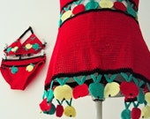 Vintage 70s Crochet Bikini Cover Up Set Red Red Green Yellow Apples Teens
