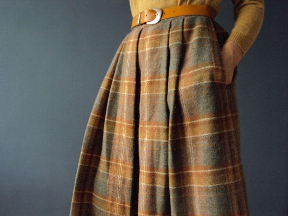 Vintage 70s Winter Sage and Mustard Tweed Plaid Box Pleat and Gathered Wool Skirt