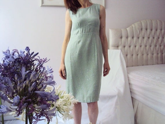 Vintage Handmade 60s style tulip shift dress pastel sage green lavender infused floral embossed