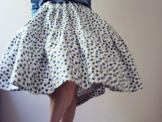 Vintage 50s Jantzen Australia Rockabilly Atomic Cotton Swing Skirt Three Tier Ruffle Cornflower Blue Rosettes Emerald Maple Leaf Motif