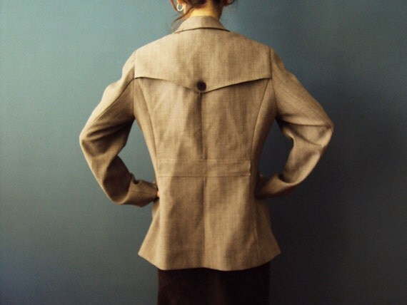 Fox Hunting Suit Jacket Ecru Khaki Brown Woodland City Safari Jacket Blazer Vintage 80s