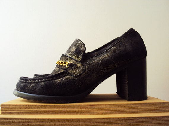 Vintage 90s Designer Patrick Cox Gold Chain Loafers Black and Gold Dusted Suede