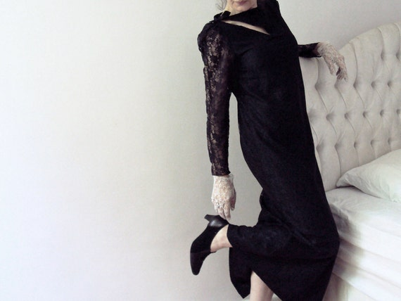 Vintage 60s Black Lace Slash Keyhole Maxi Dress with Bows Hollywood Cocktail Halloween Gothic