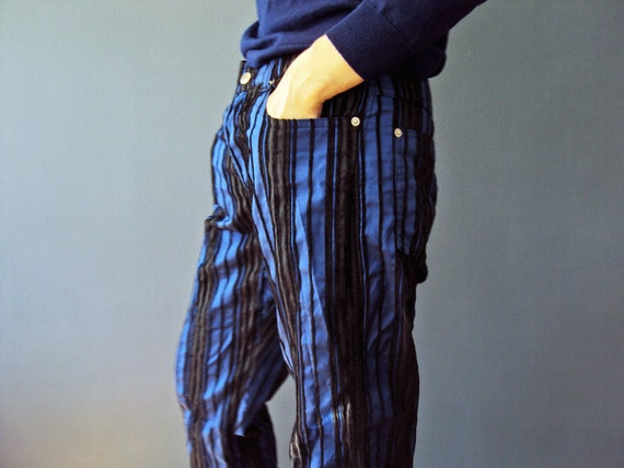 Cobalt Blue and Black Stripe Rave UK Design Jeans Statement Mod Pants Vintage 90s Australian Fashon