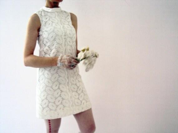 Vintage Wedding Dresses 50s 60s: Vintage 60s White Cotton Lace Mod Short Wedding Dress Mini