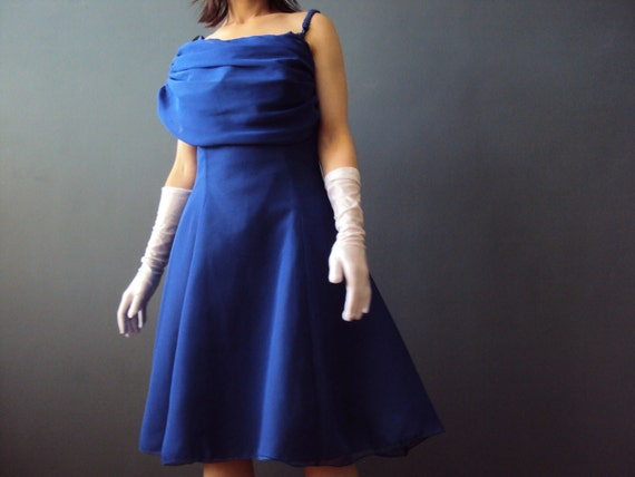 Cobalt Blue Off the Shoulder 50s Style Mad Men Prom Swing Party Dress with Tulle Vintage 80s