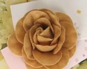 Handmade coffee brown felt flower brooch