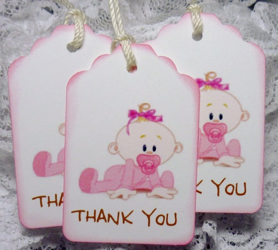 baby girl thank you gift party favor baby shower tags hang tags