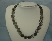 Brown mother of pearl button necklace