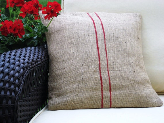 Burlap Feed Sack Pillow Cover 16 x 16