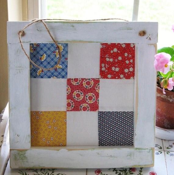 Wood Framed Quilt Block by TheWhimsicalGardener on Etsy