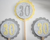 Personalized Gray and Yellow Damask Cupcake Toppers