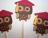Owl Graduation Cupcake Toppers - Custom Colors