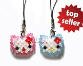 Swarovski crystal Fantasy hello kitty face doll with bow, phone charm,keychain,zipper pull and other decorations(individual sell)