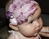 """LIMITED EDITION--Vintage Inspired Curly goose feather and rosette headband fascinator, baby, adult, wedding, bridal """"Marie Antoinette"""""""