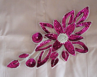 Bead And Sequin Applique In Hot Pink Color.