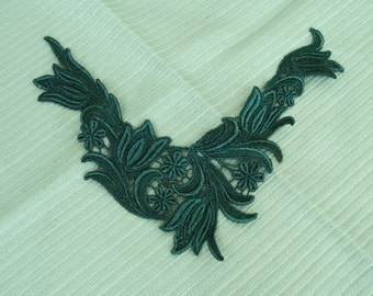 Venice Type Lace Embroidery Appliqué in Dusty Green Color.