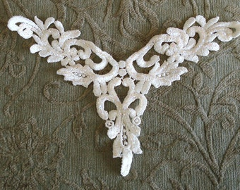 Venice Lace Embroidery APPLIQUE With Glitter For Shimmering In White Color.