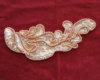 Bead And Sequin Iredescent Apricot Color Applique.