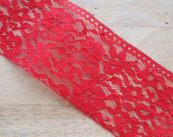 """2 Yards Lace Trim RED 3 3/4"""" Wide."""