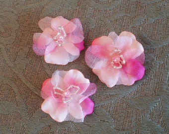 Fabric Flowers With Beads Center Pin.