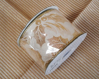 """1 Roll 10 Yards White And Metallic Gold Wired Ribbon Trim 2 1/2"""" Wide."""