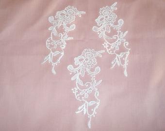 Venice Lace Embroidery Appliques In White  Color