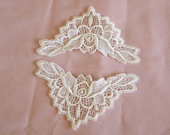 Venice Lace Appliqués In Off White Color.