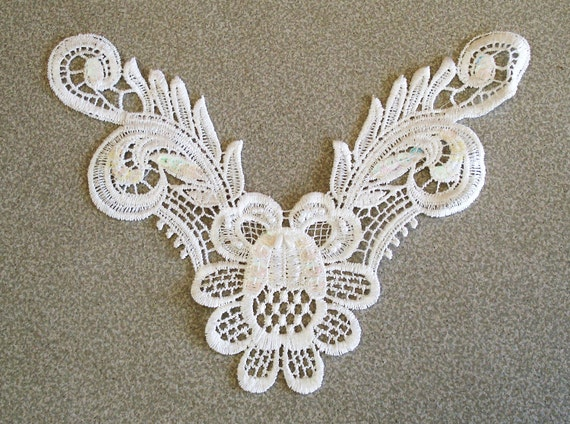 Off White Venice Lace Embroidery Applique With Iridescent Clear Sequins And White Beads.