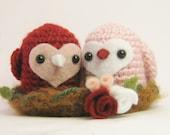 Valentines Day Crochet Love Birds with Nest Amigurumi Dolls