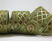 Gorgeous Ribbons from INDIA - Two yards of beautiful sequinned trim in gold, copper on Pistachio Green