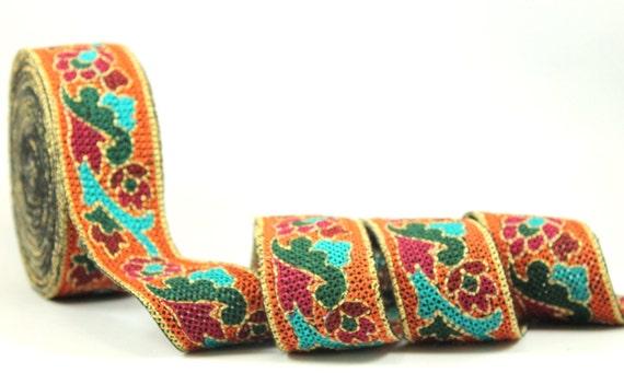4.5 Yards Fabric Trim-Wide Beautiful Cross-stitched ribbon trim-Sari Trim-Sari Fabric Trim-Sari Border Trim-India Fabric Trim-Table Runner