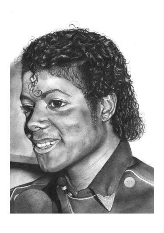 CLEARANCE Michael Jackson Pencil Drawing PRINT