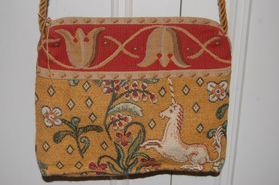 Vintage Unicorn Tapestry Handbag Purse Crossbody Bag Renaissance Woven Art New York FREE SHIPPING