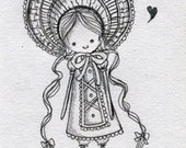 RESERVED for mordisquitos Bunka Doll Sketch ACEO
