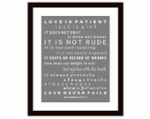 Love is Patient Love is Kind, Scripture Art, Ist Corinthians 13, Scripture Print, Wall Decor, Christian wall art, Graduation, Confirmation