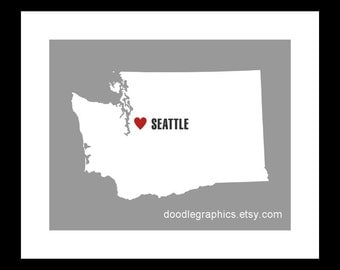 Washington State with Heart on Seattle or ANY city in Washington