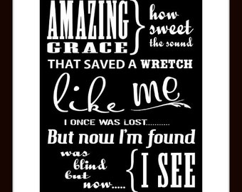 Amazing Grace Inspirational Song Scripture Art Print