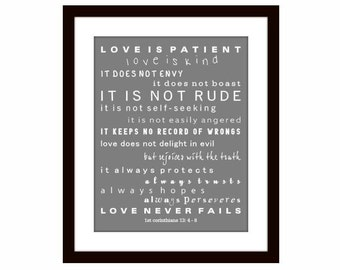 Love is Patient Love is Kind, Scripture Art, Ist Corinthians 13, Scripture Print, Wall Decor, Christian wall art, Graduation, Confirmation