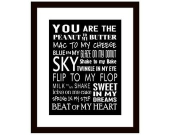 You Are The Peanut To My Butter, Art Print, Typography Print, Inspirational Wall Decor