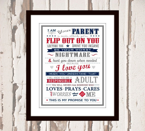 I Am Your Parent typography kids room decor art print poster boys room girls room