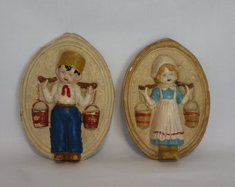 Vintage 1940s Adorable Dutch Boy and Dutch Girl Chalk Wall Hangings