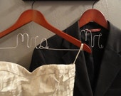 Wedding Hanger Set - Mr.& Mrs. set of two personalized wire hangers