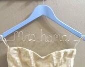 Bride Wire Wedding Hanger-Something Blue-Personalized Custom PAINTED Wooden Wedding Dress Hanger