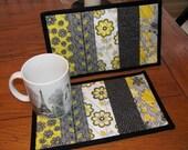 Quilted Mug Rug Gray and Yellow Set of Two Mug Mats